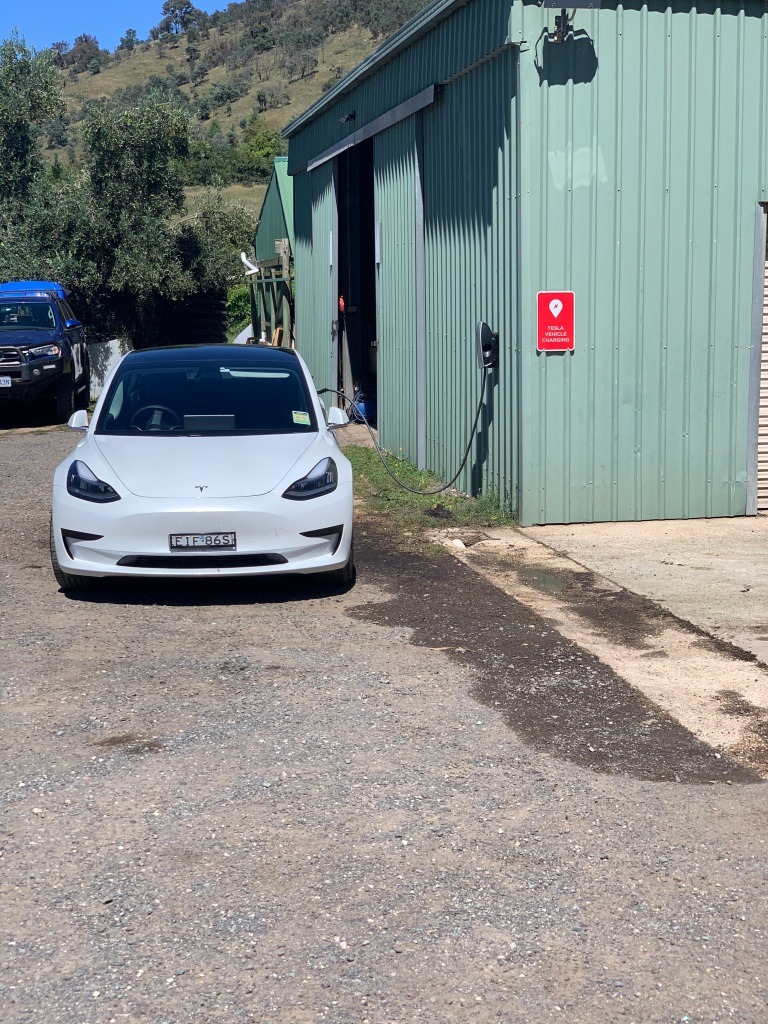 Tesla Model 3 charging at Lake George