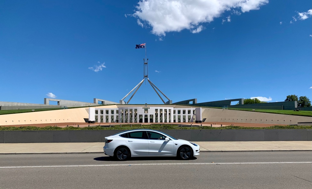 Tesla Model 3 in front of Parliament